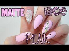 Matte Pink Lace Acrylic Nails - YouTube