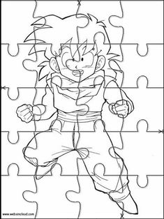 Puzzles rompecabezas recortables para imprimir Dragon Ball Z 22 Paper Doll House, Paper Dolls, Goku, Dragon Ball Z, Wooden Jigsaw Puzzles, Angry Birds, Colouring Pages, Projects To Try, Clip Art