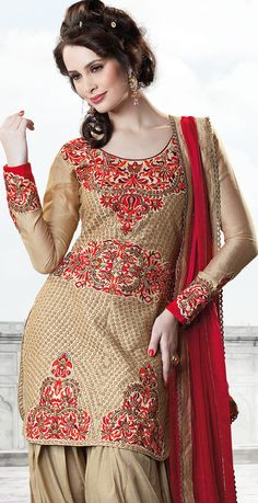 Beige Brown Georgette Semi #Patiala #Suit for Punjabi Culture