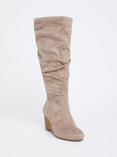 Wide Grey Faux Suede Slouchy Knee-High Wedge Boot - Wide Width & Wide Calf Source by de mujer de fiesta Knee High Wedge Boots, Wedge Heel Boots, Wide Calf Boots, Block Heel Boots, Knee Boots, Heeled Boots, Boot Heels, Fur Boots, High Boots