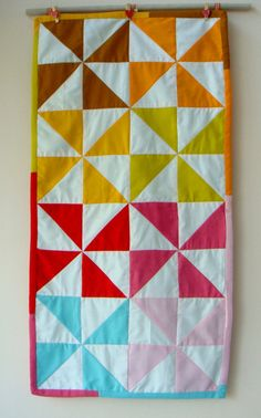 Warm n Cold Pinwheel table runner by chezvies on Etsy, $25.00