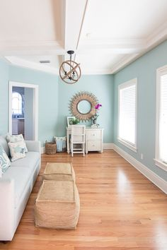 Coastal Paint Colors - The Lilypad Cottage - - Coastal Paint Colors. 6 soothing blue and greige paint colors used throughout a Florida beach home that all flow together. Coastal Paint Colors, Interior Paint Colors For Living Room, Room Wall Colors, Bedroom Paint Colors, Paint Colors For Home, Painting Living Rooms, Blue Living Room Paint, Home Colors, Paint My Room