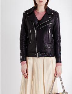 GUCCI Graphic-print leather biker jacket