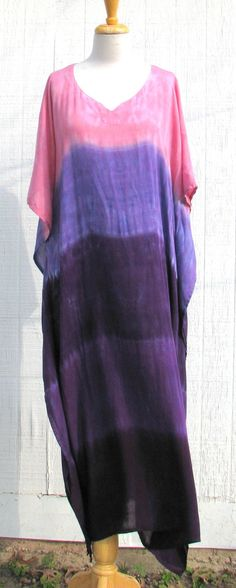 Tie Dye Caftan in Shades of Purple and Pink by inspiringcolor, $38.00