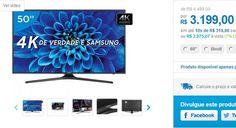 """Smart TV LED 50"""" Samsung 4K/Ultra HD 50KU6000 Conversor Digital Wi-Fi 3 HDMI 2 USB 50"""" << R$ 297507 >>"""