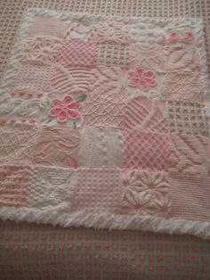 Vintage Chenille Patchwork Quilt - Baby Girl Pinks - 29 X 35