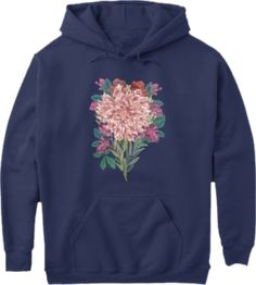 Mothers, grandmas, aunts and daughters will love these floral botanical designs in t shirt, hoodie, tank top styles. Botanical Flowers, Floral Flowers, Colourful Outfits, Blue Tops, Fasion, Flower Designs, Gifts For Mom, Navy Blue, Hoodies