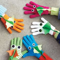 Dragon Gloves @Marisa Homer. These are cute, maybe for letter D with googly eyes instead of buttons?