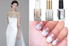 White & silver lace nails