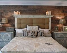 Bedroom. Everything about this - pallet wall, colors, nightstands, personalization