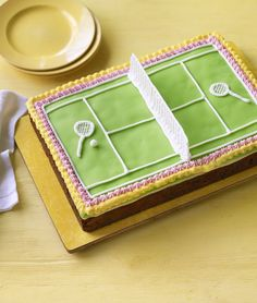 Tennis Cake ~ Mary Berry's technical challenge from GBBO s6e7 tested the bakers' knowledge of icing techniques using this Victorian recipe of light fruit cake covered with marzipan and fondant icing to look like a tennis court | recipe via BBC