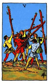 5 de Bastos, Significado de las cartas del Tarot