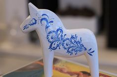 White or blue dala horse