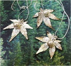 New Design - Real Leaf Jewelry, 3 Bridesmaid wedding necklace, Silver japanese maple, pearl new chain