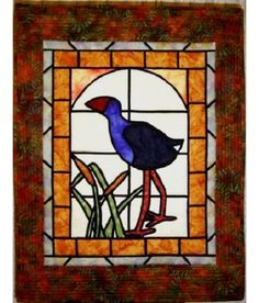 Pukeko in Stained Glass Pattern - Katipatch Patchwork & Quilting Boutique Stained Glass Patterns, Wall Hangings, Lanterns, Quilting, Arts And Crafts, Diy Projects, Boutique, Future, Scrappy Quilts