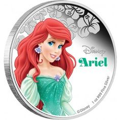2015 #Disney #Princess Ariel 1oz #Silver Proof #Coin. Ariel dreams of being with Prince Eric, and defies her father, King Triton, to make her dreams a reality. She gives up her voice to Ursula the sea witch in return for a spell that will make her human.
