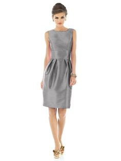 Sleeveless cocktail length dupioni dress with large flat bow detail at low back. Natural waist.  Pleated slim skirt has pockets at side seams. Available in sizes 00-30W.  http://www.dessy.com/dresses/bridesmaid/d522/