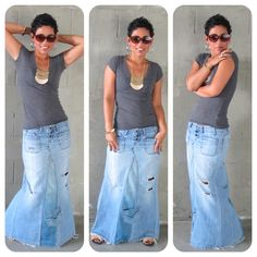 DIY TUTORIAL!!! Reconstructed Jeans to Fabulous Maxi!  ~ Mimi G does an easy to follow video showing how to transform 2 pairs of old jeans to one basic maxi skirt as shown. Once sewn, embellish to make it truly your own!
