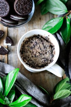 Oreo mug cake is a delicious microwave dessert that you can whip up in minutes. This easy recipe can be made vegan and gluten free as well. Just crush up some Oreo cookies, mix a few ingredients, and you have a sweet treat to enjoy! Baking Ideas, Baking Recipes, Dessert Recipes, Desserts, Oreo Cake, Oreo Cookies, Vegetarian Cookies, Mug Cake Microwave, Cake Recipes From Scratch