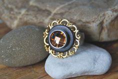 Wechselring - gold brauner Ring + Glasperle braun von DaiSign auf DaWanda.com