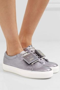 Sole measures approximately 20mm/ 1 inch Lavender textured-leather Lace-up front Made in Italy