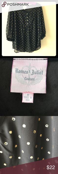 Romeo & Juliet Couture Shear Blouse Sz Medium Romeo & Juliet Couture Shear Blouse Sz Medium!  Black top with small gold apples! Romeo & Juliet Couture Tops
