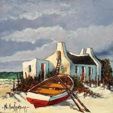 Arniston Canvas Painting Projects, Cool Art Projects, Canvas Art, House Painting Images, Landscape Art, Landscape Paintings, African Art Paintings, South African Art, Boat Art
