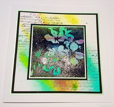Handmade card by Sue Baker for Imagination Crafts. Art Stamps, Mixed Media Spray Inks.