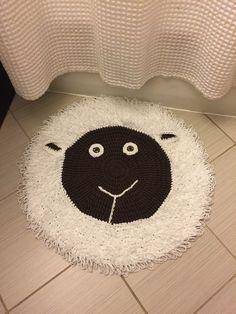 Handmade crochet sheep rug/mat by TheLittleLilly on Etsy https://www.etsy.com/listing/253615468/handmade-crochet-sheep-rugmat