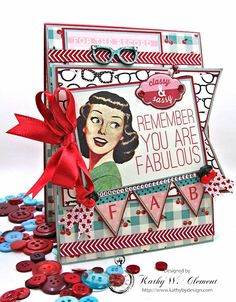 I've created this fun retro styled Remember You Are Fabulous card with Authentique papers and Really Reasonable Ribbon for the latest challenge at RRR.
