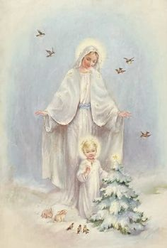Blessed Virgin Mary and Baby Jesus Vintage Christmas Cards, Christmas Images, Christmas Art, Christmas Scenes, White Christmas, Xmas, Religious Pictures, Religious Icons, Religious Art