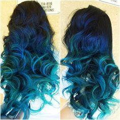 Dark Blue Hair with Teal Highlights