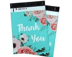 25 10x13 Poly Mailers Thank You Teal Green Flowers Roses by LesTroisJ on Etsy Green Flowers, Floral Flowers, Purchase Card, Thank You Photos, Thanks For The Gift, Shipping Supplies, Business Card Size, Pink Stripes, Teal Green
