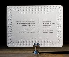 Vibrant, simple and modern Champagne letterpress wedding invitations are funky chic.