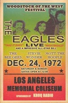 The Eagles Live Concert Poster 1972 - Stevie Wonder Bee Gees Mott the Hoople - Rainbow Tour Posters, Band Posters, Music Posters, Event Posters, Vintage Concert Posters, Vintage Posters, Retro Posters, Playlists, El Rock And Roll