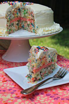 Easy Funfetti Layered Birthday Cake - this looks like heaven!