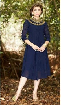 Blue Color Georgette A-line Style Embroidery Readymade Kurtis   FH558083288