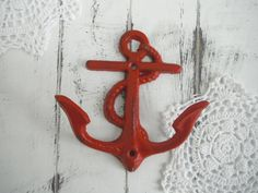 red anchor hook beach wall hook shabby chic French by ShabbyRoad