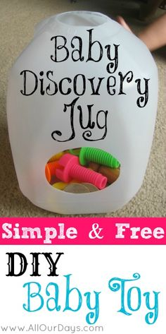 Baby Discovery Jug: Simple & Free DIY Baby Toy (31 Days of Busy Bags & Quiet Time Activities @ | http://toyspark.blogspot.com
