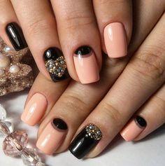 Beautiful moon nails, Beautiful nails 2016, Beige half moon nails, Black nails with rhinestones, Evening dress nails, Evening nails, Exquisite nails, Festive nails