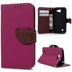For LG K4 Cases Fashion Lichi Grain PU Leather Wallet Flip Case Cover Cute Leaf Buckle Card Slot Housing For LG K4 + Stylus Pen US $5.58
