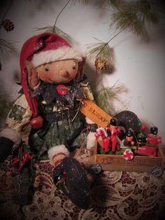 Primitive Folk Art Holiday Elf Doll~Cart/Metal Wheels~Vintage Ornaments #NaivePrimitive #DustpanDolliesbyPaula