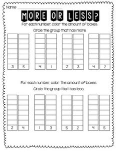 More or Less FREEBIE is a great visual aid to help teach how to find which number has more or less. Download for free now!