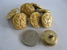 """Lot of 8 Vintage US Military Buttons Eagle Swank Waterbury Conn. 15/16"""" Metal"""