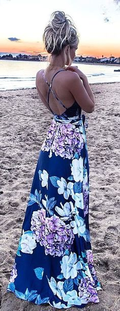 #summer #outfits  Navy Floral Maxi Dress 💜💜💜