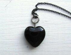 Anti Valentine Black Heart Necklace