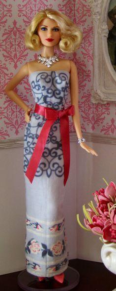 Barbie dress made from vintage hankie