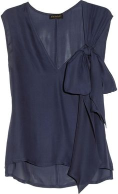 Vionnet Blue Bow Embellished Silk Top
