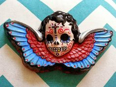 Day of the Dead Sugar Skull Cherub Angel by xlittleshopofsugarx Virgin Mary Art, Virgin Mary Statue, Diy Day Of The Dead, Day Of The Dead Skull, Rock Cactus, Diy Xmas Gifts, Witch Decor, Creepy Dolls, Mexican Folk Art