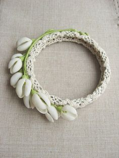 Snowdrop bracelet Winter snowdrops jewelry White floral bracelet by AlmostRealFlowersArt on Etsy